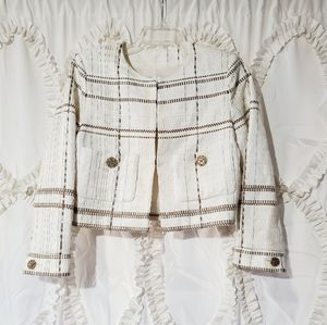 CHANEL White Brown Embellished Button Jacket 38